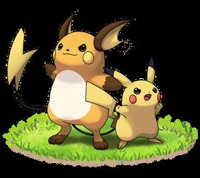 Pikachu_Raichu by marizoh