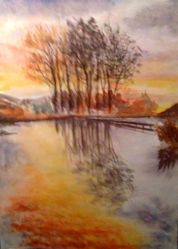 Watercolor Sunset By Just A Witness