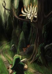 Link encounters a wild Ninetales by Jo-Onis