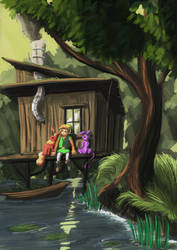 Link Espeon and Flareon - Swamp hut by Jo-Onis