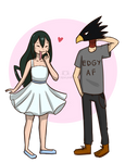 Tsuyu and Tokoyami by kittenlaurel