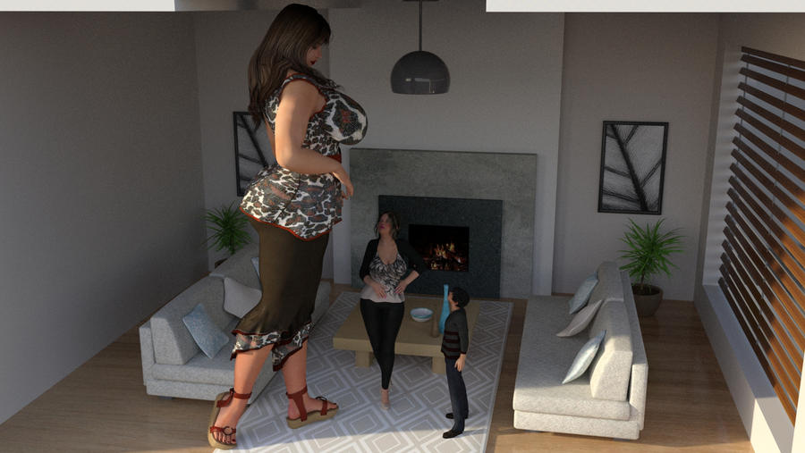 Giantess Mother talk with her children 1
