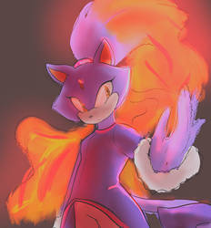colored sketch of a cat on fire by Asikku