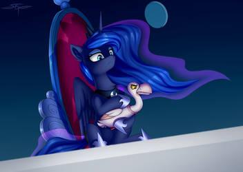 Luna with a bird by Setharu