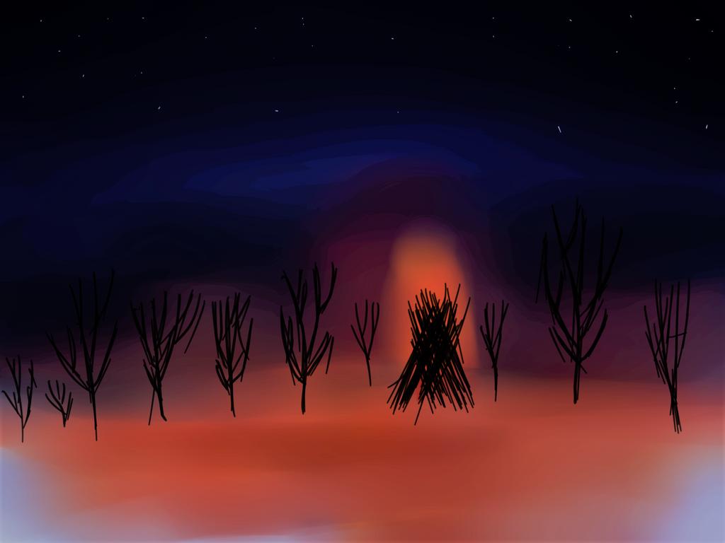fire in the woods by Drjonatan
