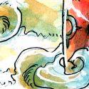 """Ma participation au défi sur le thème de """"onirique"""". J'ai travaillé uniquement avec du rose, du jaune et du bleu. Et du posca blanc à la fin pour surligner."""
