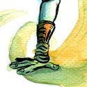 """Illustration pour le défi """"Sur les mains"""" que je n'avais pas eu le temps de mettre en couleur. Maïenvel a un véritable talent pour les acrobaties."""