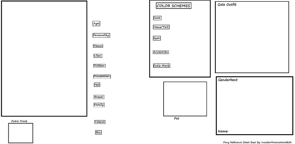 Pony OC Reference Sheet (BASE) By DrTrebleClef ...  Blank Reference Sheet