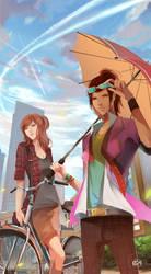Commission : Maya and Sharon by Aquashe