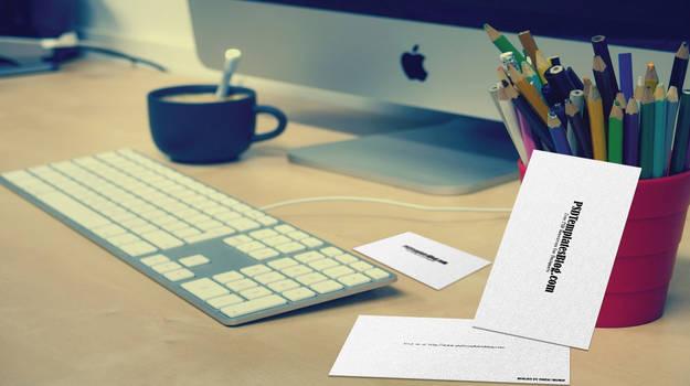 Free Business Card Mockup on Work Desk