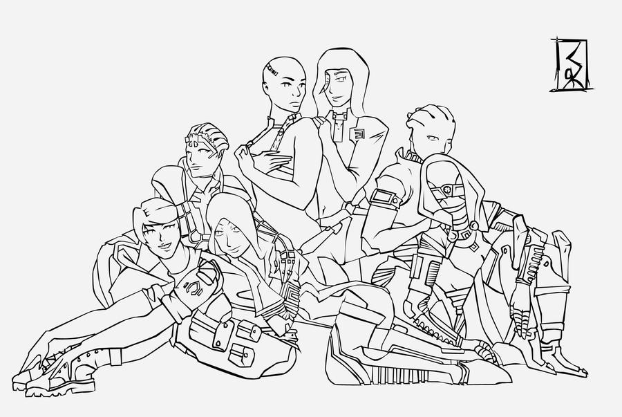 Line Drawing Effect Photo : Mass effect group line art by idrawgirlz on deviantart