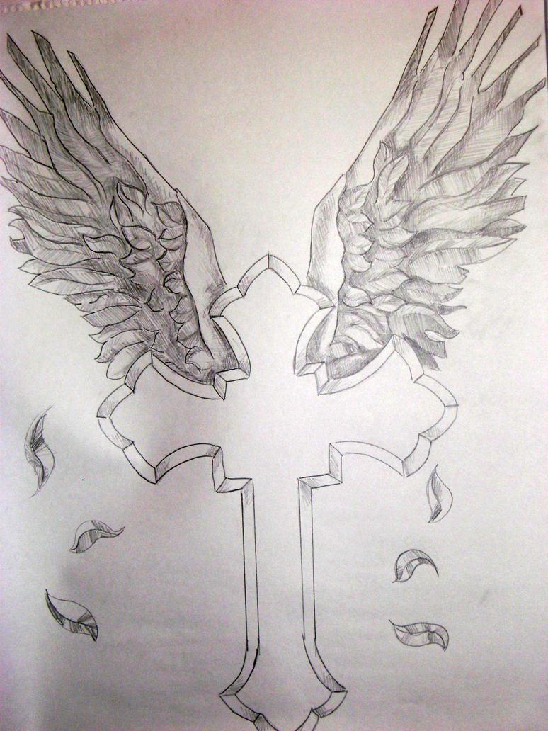 cross and wings tattoo art by williamjblaylockiii on ...
