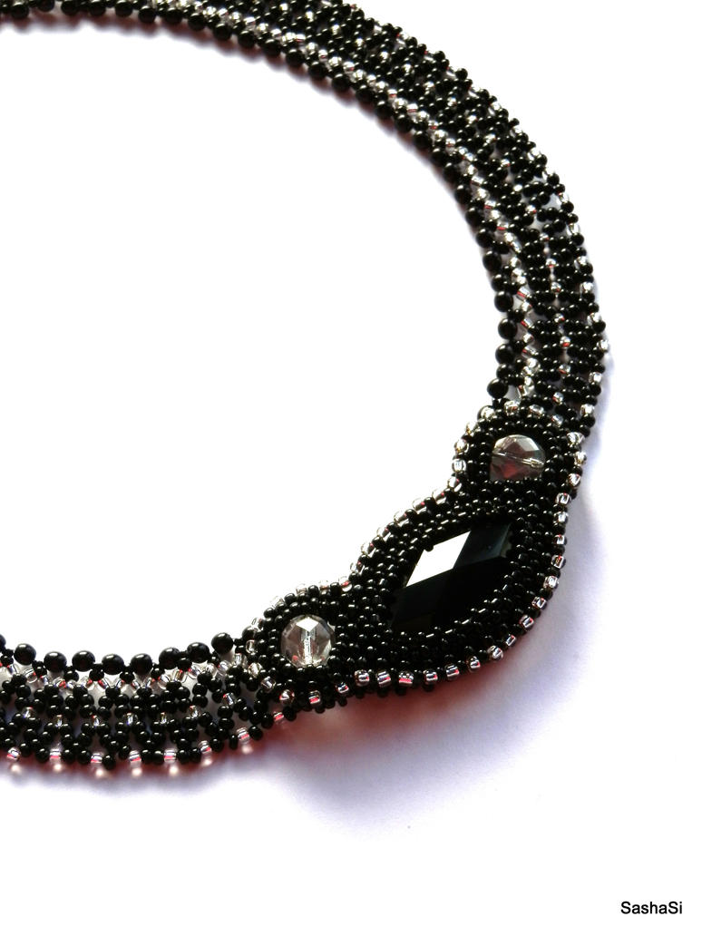 Black Crystal Necklace by gordissima