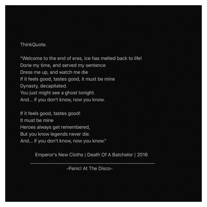 Panic At The Disco - Emperors New Cloths by THinkQuote