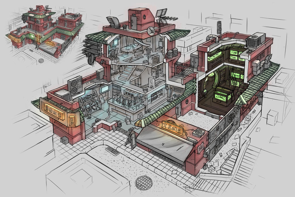 Cyberpunk shop interior by ortsmor on deviantart for Cyberpunk interior design