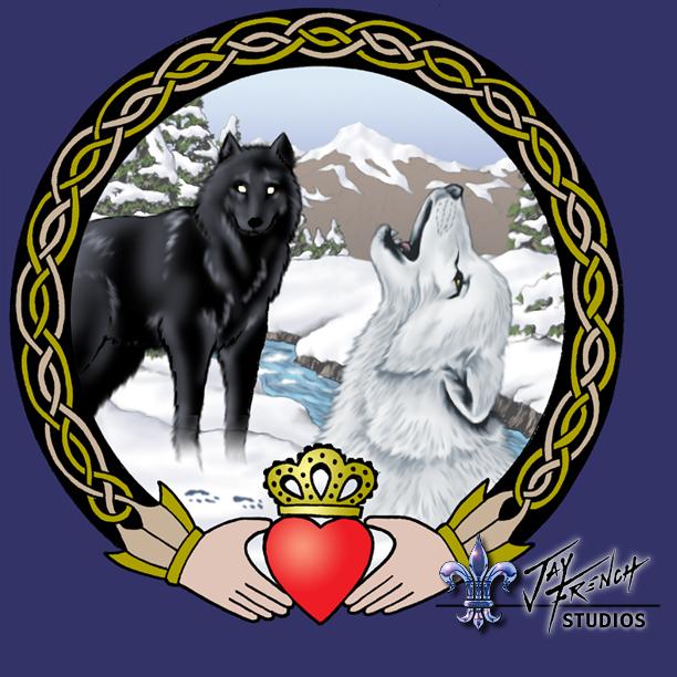Wolf Claddagh Tattoo Design