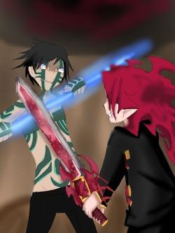 Naoki vs. Zetta by prinnyfrost