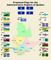 Map of Quebec Regions and Their Proposed Flags by AlienSquid