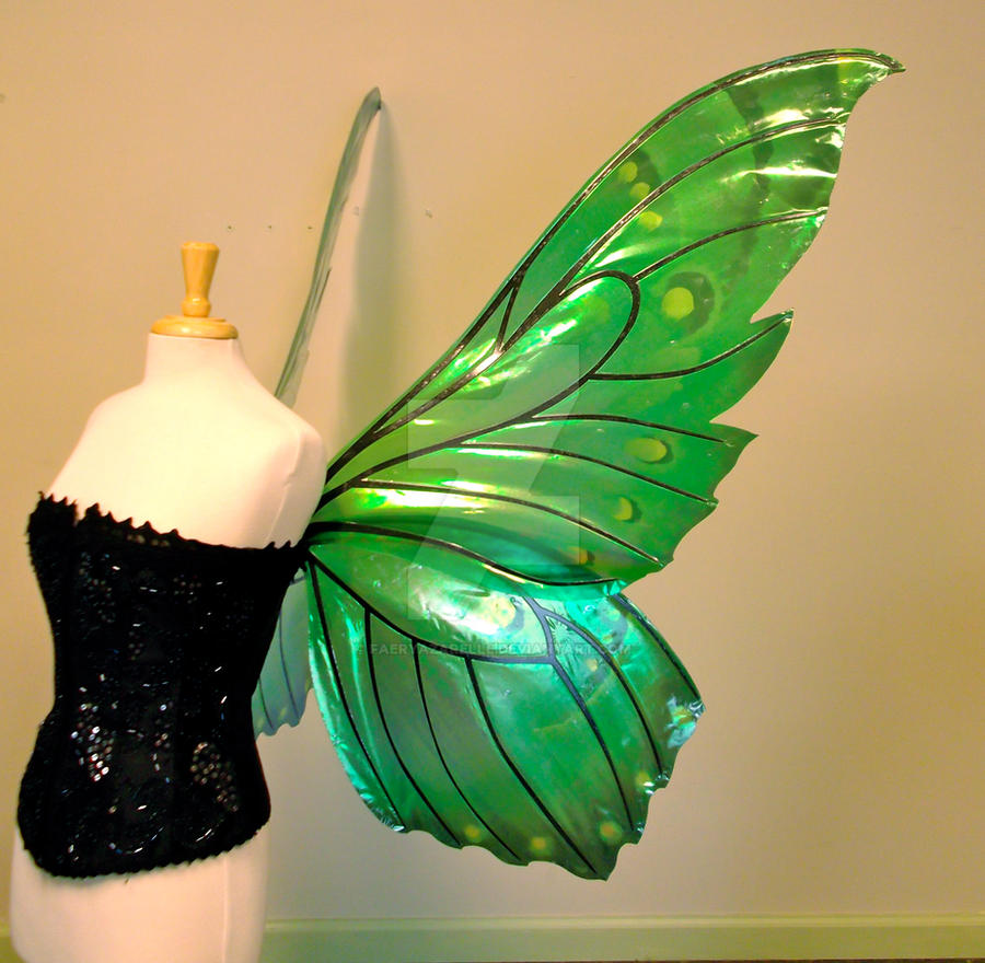 Delia's giant green butterfly fairy wings, side by FaeryAzarelle