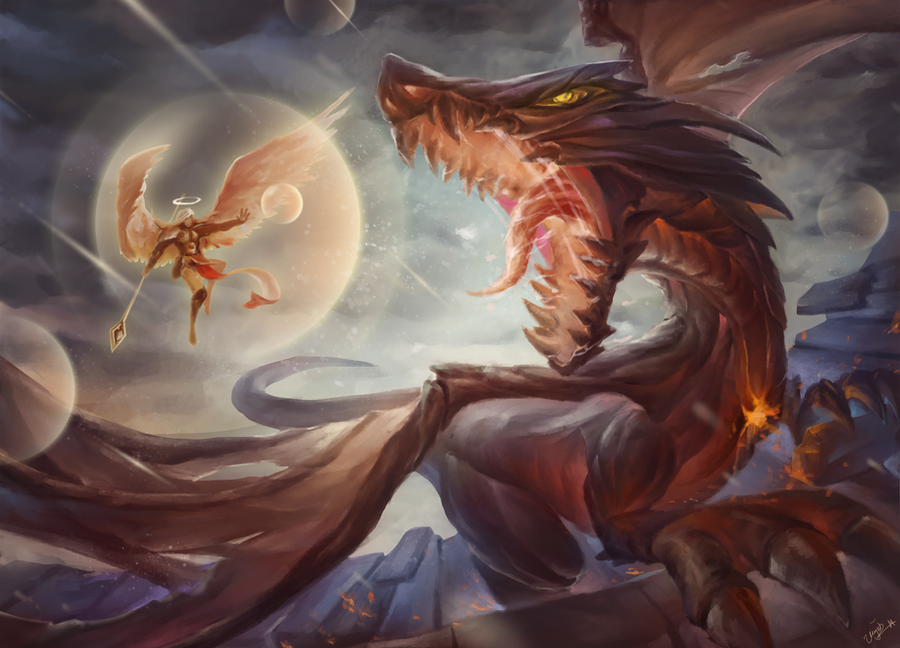 Dragon vs angel by ninencat on deviantart for Gimnasio 5 dragones