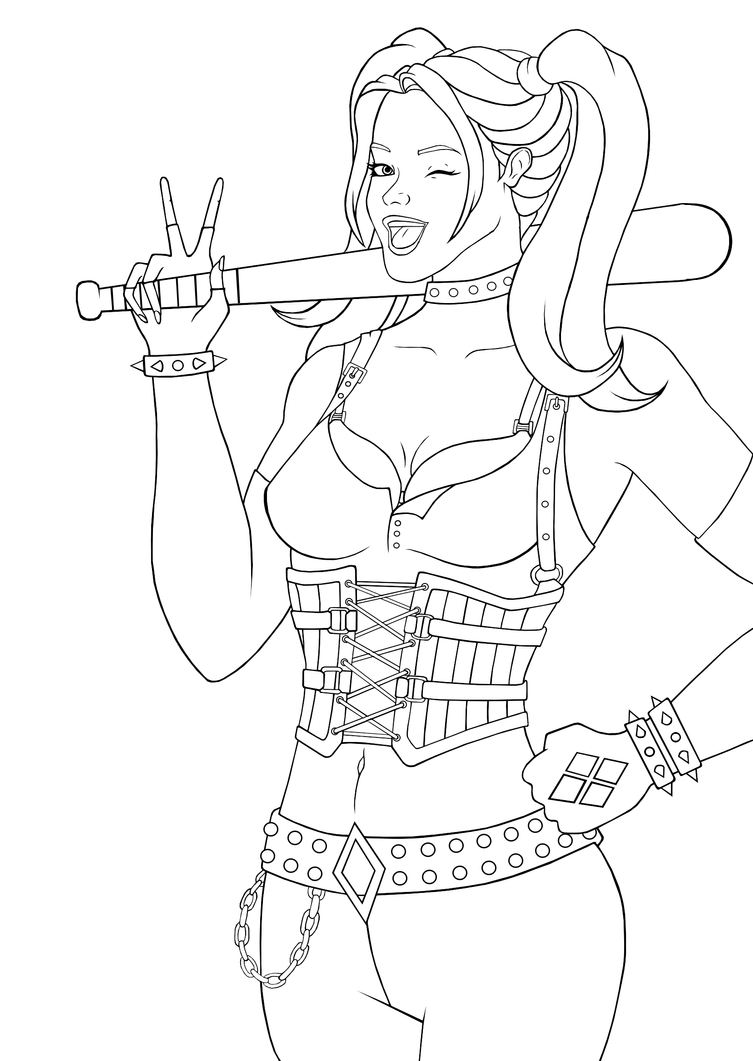 Harley Quinn Chibi Coloring Pages Suicide Squad Harley