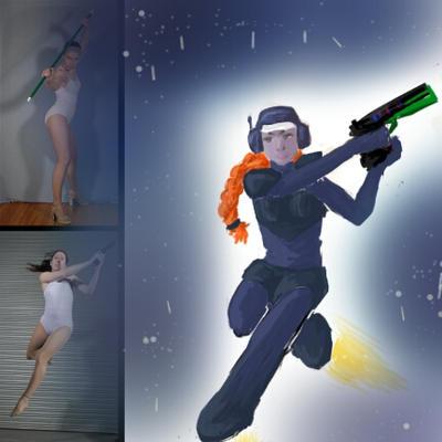 sketch this: futuristic warrior (with phone) by Pugnalati