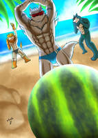 Digimon Go on beach by CommandramonX
