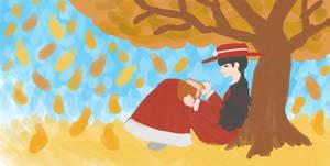 Keiko reading a book as the autumn leaves fall