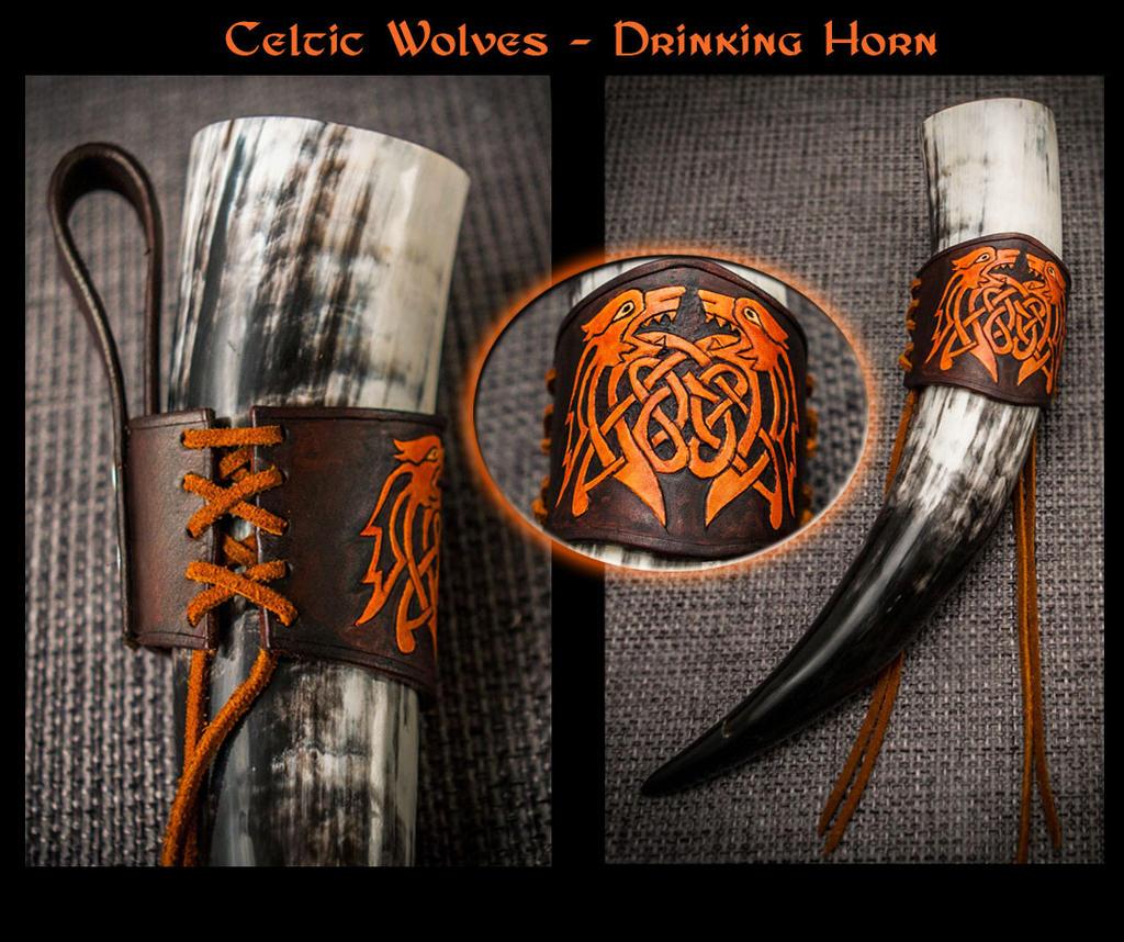 Drinking Horn Holder - Celtic Wolves