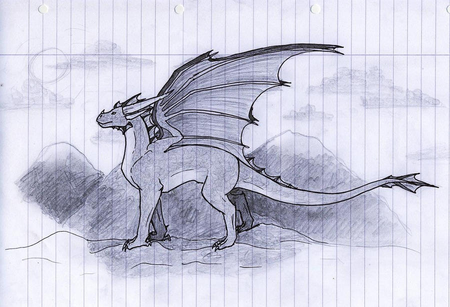 Dragon pencil sketch by muniaelena