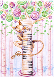 Piano cat in music forest by SaintHeiser