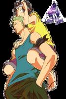 Luffy y Zoro One Piece Render #3 by celestialwizzard