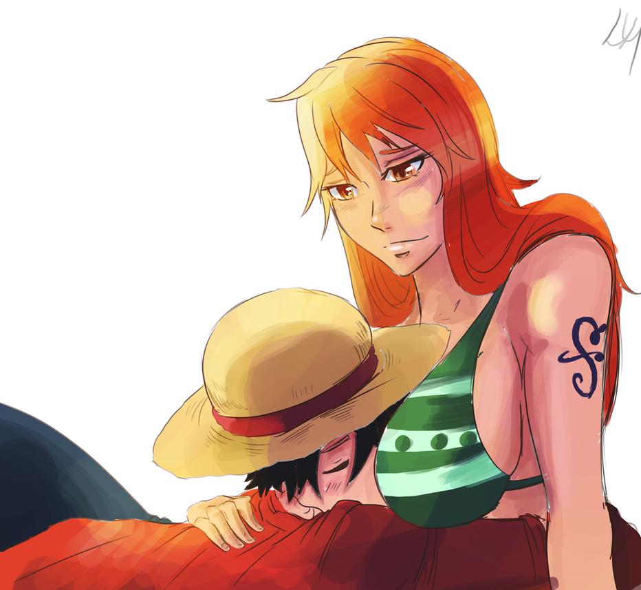 Nami And Luffy  Sleep by lukesChillArt666