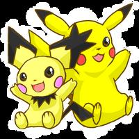Pikachu and Notched-Ear Pichu by Ishisu