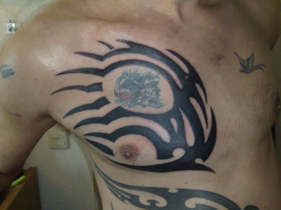 tribal tattoo colored - chest tattoo