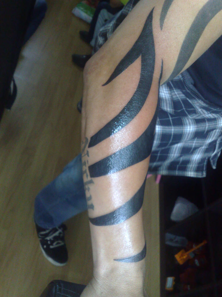 Tribal tattoo lower arm by campfens on deviantart for Forearm tribal tattoo