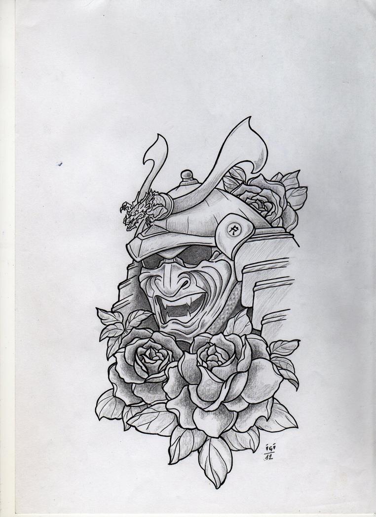 Samurai mask tattoo design by campfens