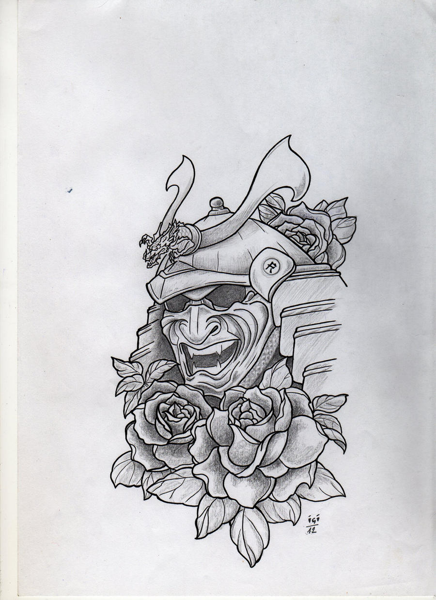 Samurai mask tattoo design by campfens on DeviantArt