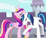 Cadence and Shining Armor Holdin' Hooves