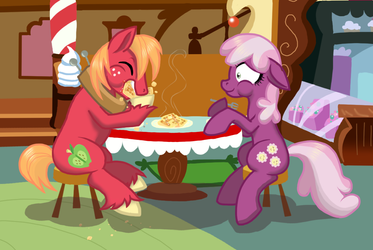 Big Mac and Cheerilee Eatin' Waffles by NaomiKnight17
