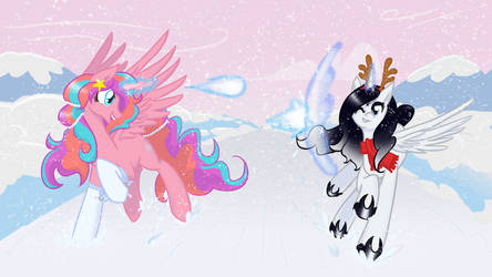 Princesses Playing in the Snow