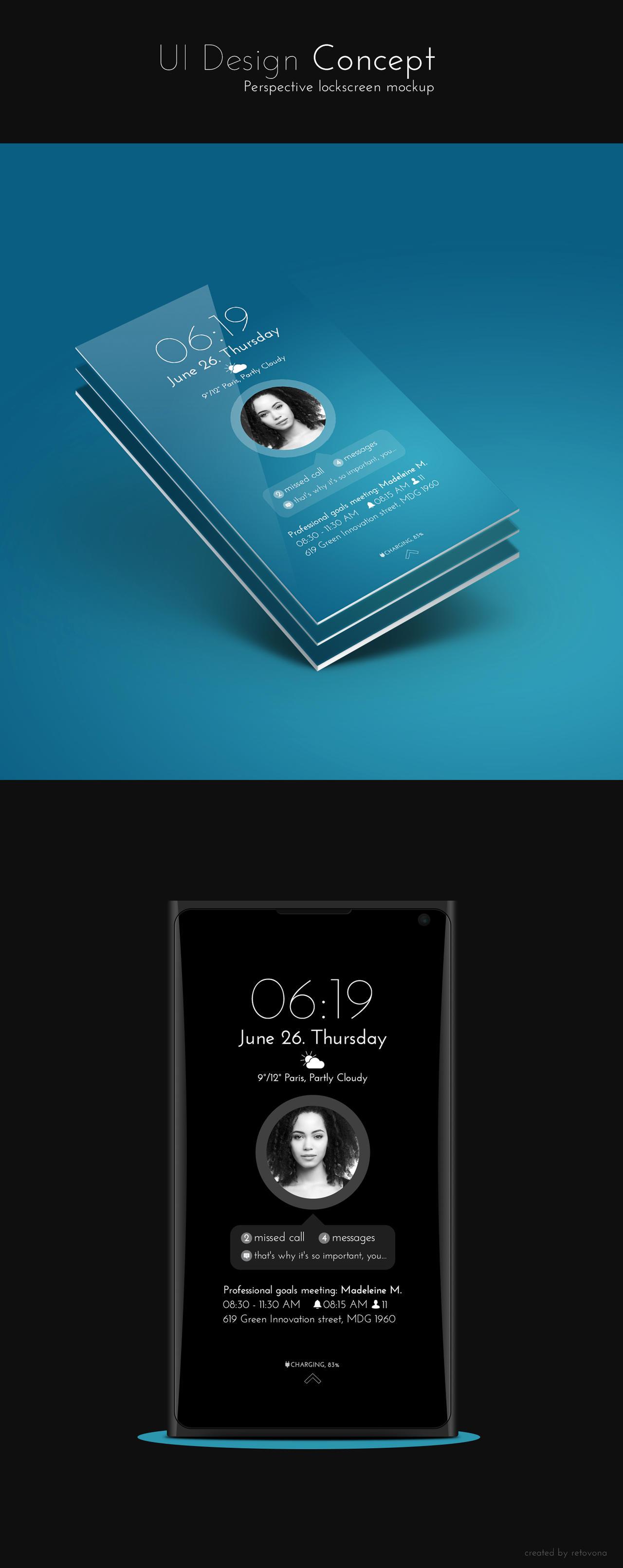 Clean lockscreen UI design Concept by sharkurban