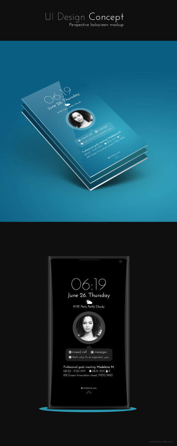 Clean lockscreen UI design Concept by sharkurban