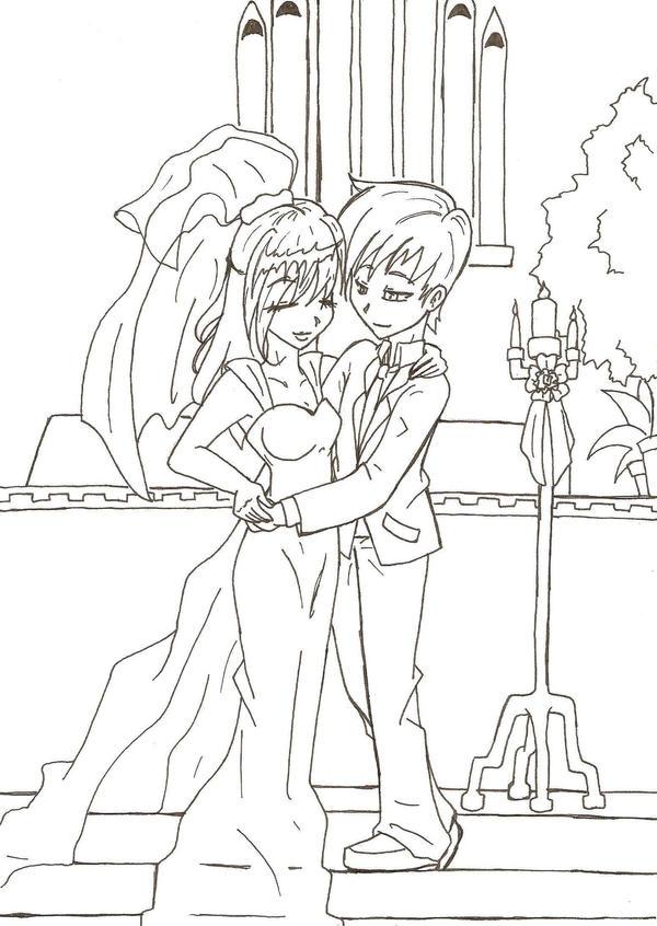 Line Art Wedding : Wedding bride and groom sketch coloring page