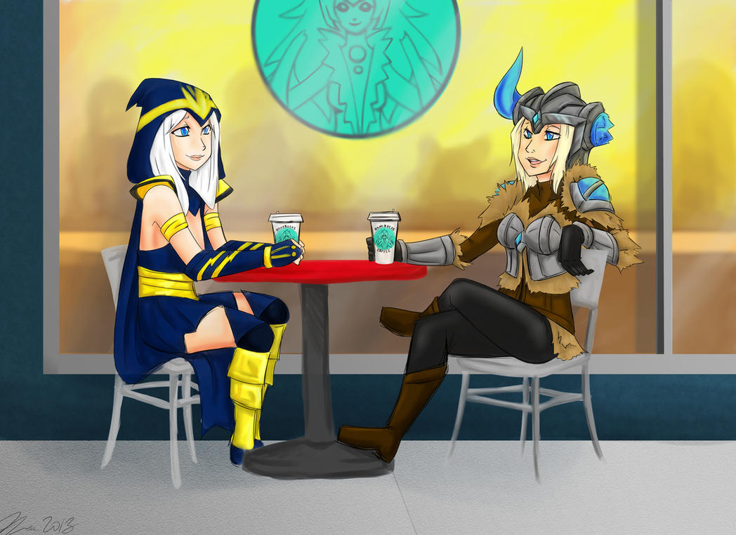 Ashe and Sejuani- Coffee Date by MESS-Anime-Artist on ...