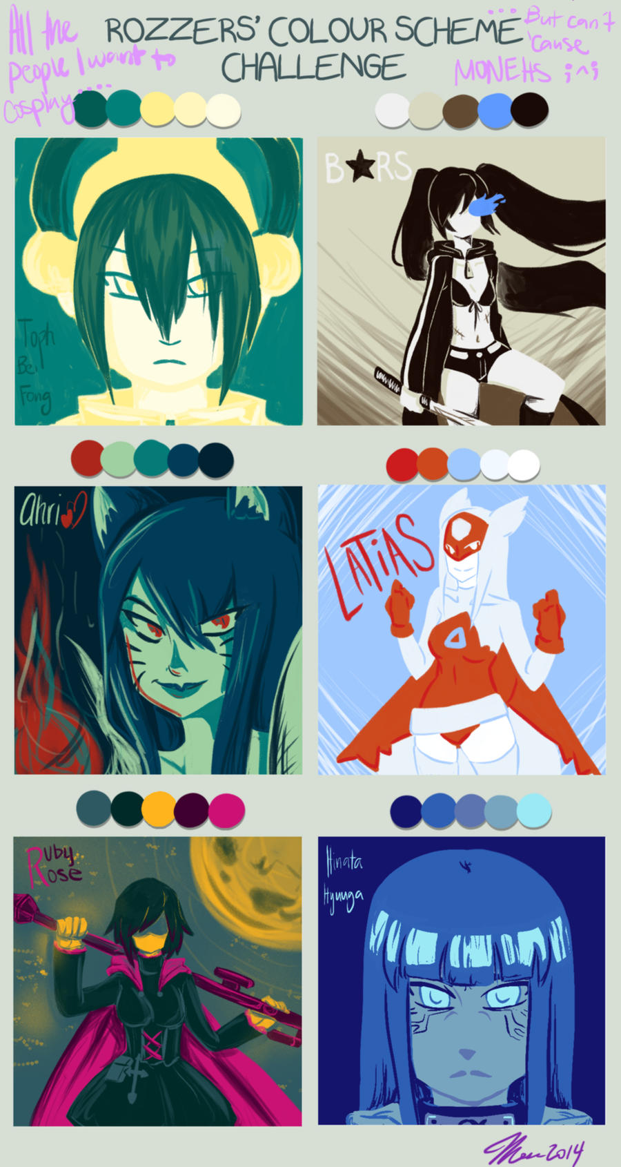 cosplay wishlist color scheme challenge by mess anime artist on