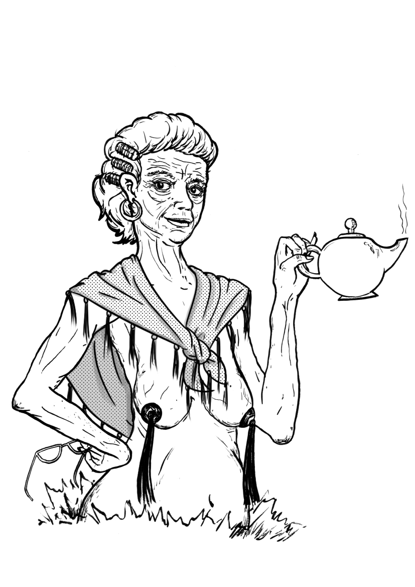 Line Drawing Lady : Old lady tassels by maverickcarter on deviantart