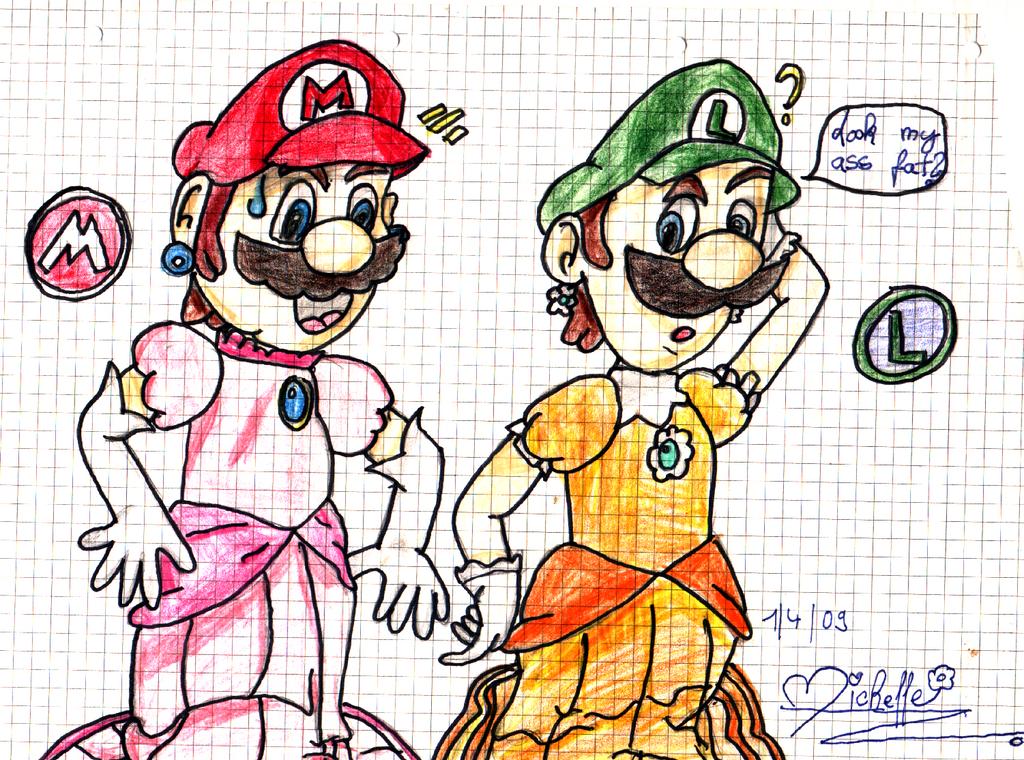 Mario and Luigi dress up by MarioLuvPeach on DeviantArt