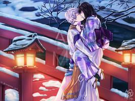 COMMSSION: Ikemen Sengoku Mitsuhide and OC by aoyumeart