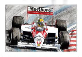 Ayrton Senna, McLaren MP4/4 1988 by Leotrek